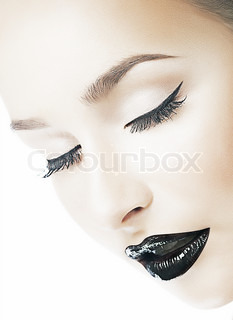 Dreaminess Femininity Dreamy Woman's Face with Closed Eyes Shiny Black Lips