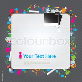 blank paper with photo frame on education icon