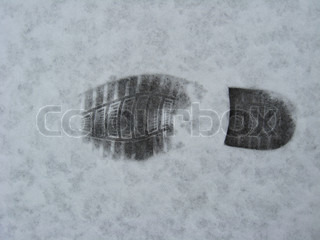 Trace of shoe on a snow