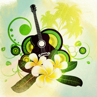 Grunge musical background with white plumeria flowers and guitar