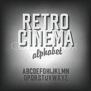 Old cinema styled alphabet With textured background, vector, EPS10