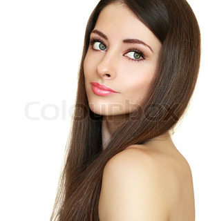 Beautiful girl with health long hair looking calm isolated on white
