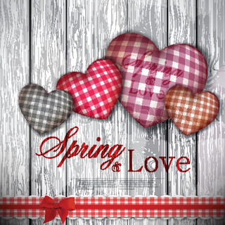 Red cloth handmade hearts on wooden background Valentines day Vector