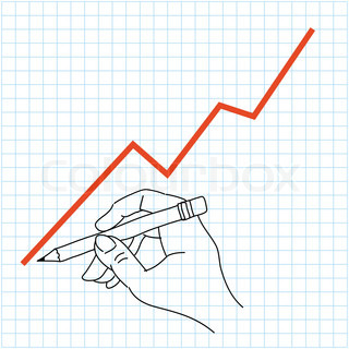 Hand drawing profit chart on grid graph paper   Stock Vector ...