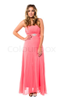 Gorgeous young female model dressed in party wear Isolated over white