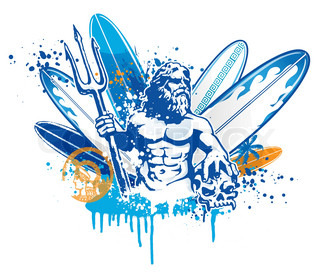 Poseidon Surfer Vector Colourbox