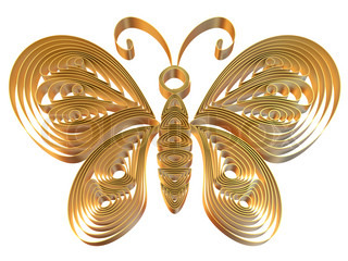 Abstract yellow butterfly isolated on white background 3d illustration in pseudo quilling style