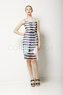 Contemporary Clothes Collection Woman in Spring Light Dress with Grey Streaks Fashion