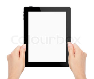 female hands holding a tablet touch computer gadget with isolate