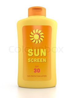 Sunscreen bottle isolated on white
