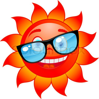 Happy red and hot sun in sunglasses Cartoon style