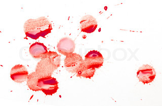 a drop of blood on a white background