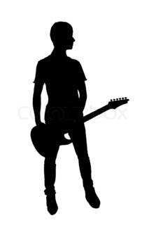 Silhouette of young man or teenager with electric guitar