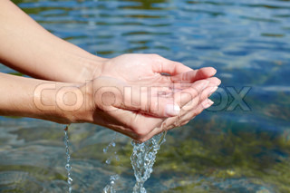 Hands with water