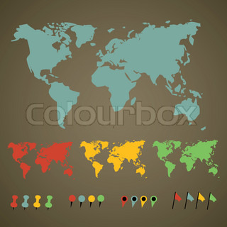 world map with pointers