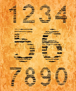Number set from black coal texture