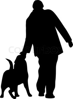 man and dog silhouette vector