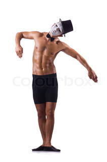 Naked muscular mime isolated on white
