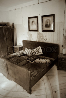 Sepia of an Old Abandonned Bedroom
