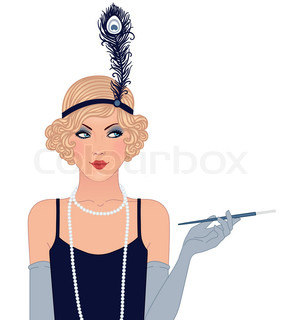 Flapper girls set: young beautiful woman of 1920s Vintage style illustration