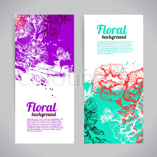 Banners with floral background Hand drawn illustration of roses