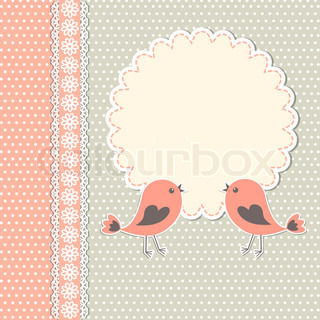 Round frame with two birds