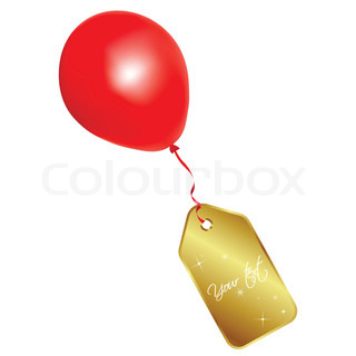 Vector label and balloon
