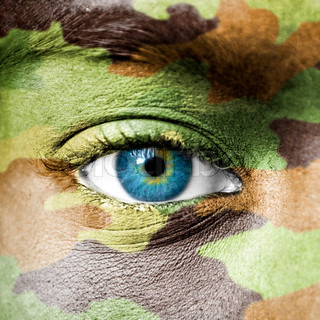 Soldier face with camo texture macro