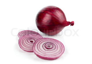 red onions on a white background,
