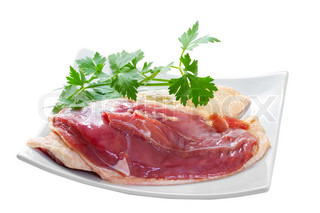 Marinated duck fillet on a white background