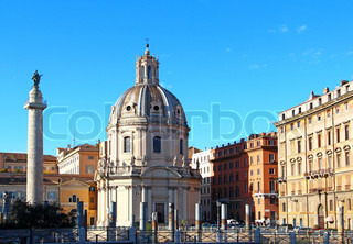 Santa Maria di Loreto church and Trajan column, Rome, Italy