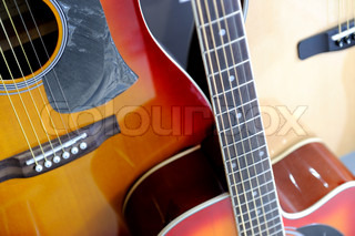 Acoustic Guitars on Display at Store