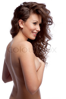 portrait of nude smiling woman with curly hair isolated on white