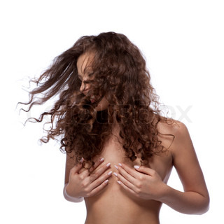 portrait of nude woman with curly hair isolated on white