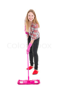 young attractive housewife with mop isolated on white