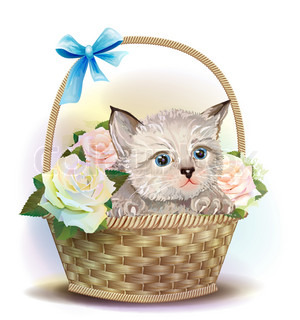 Illustration ofthe fluffy kitten sitting in a basket with roses