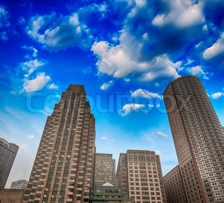 Skyscrapers of Boston with colorful Sky