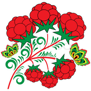 Design element with a branch of raspberries