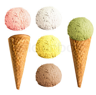 ice cream cone set isolated