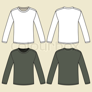 black long sleeved t shirt template vector colourbox. Black Bedroom Furniture Sets. Home Design Ideas
