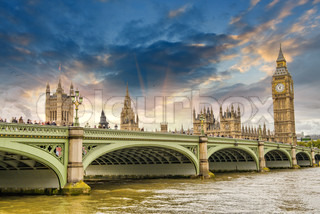 Beautiful London architecture Houses of Parliament and Westminster bridge