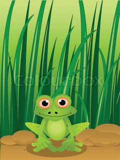 cartoon frog with grass background