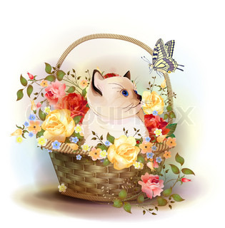 Illustration ofthe siamese kitten sitting in a basket with roses