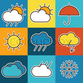 Colorful weather symbols