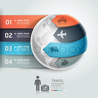 Abstract globe infographics travel transportation.