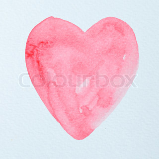 Water color painting on heart shape