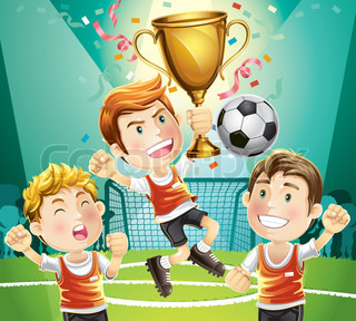 Children Soccer champion with winners trophy sporting. cartoon character.