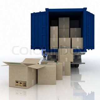 truckwith boxes 3dillustration isolated on white background