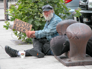 Tramp Begs to Buy Beer in a Street of San Francisco