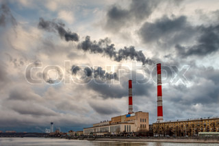 Cityscape of the Moscow River and Coal Power Plant, Moscow, Russia
